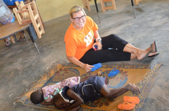 Elizabeth donated 80+ pair of flip flops for children at the camp and in the village