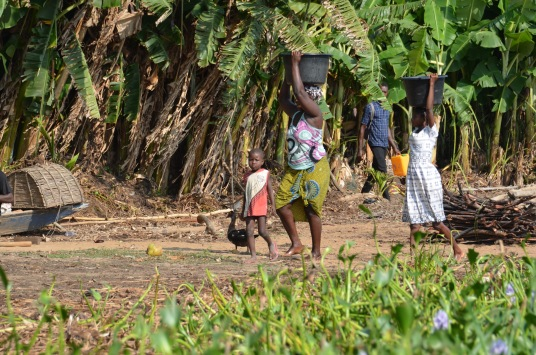 Women and children gather water from the river